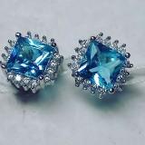 Серьги Малибу голубые
